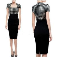 WIIPU Women Elegant Houndstooth Colorblock Wear To Work Party Bodycon Pencil Dress