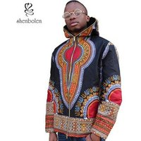 2019 Fashion Mens Dashiki Jacket Kitenge Designs Black African Wax Print Zipper Coat with Pockets Wholesale