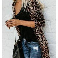 Wholesale Leopard Print Cardigan Women Short Sleeve Open Front Cardigan