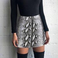 White Snake Print PU Leather Skirt Streetwear Faldas Mujer Moda Mini Skirts Womens Falda Serpiente High Waist Skirt Y11434