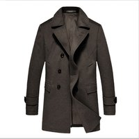 Winter outwear custom logo 90% wool cashmere fabric long jacket mens trench coat