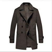 Winter outwear custom logo 90% wool cashmere fabric long jacket mens trench coat