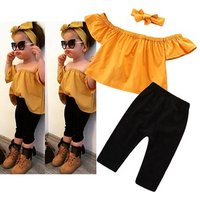 Toddler Baby Girls Clothing Set Summer Off-The-Shoulder Short-Sleeved Top + Black Pants + Headband Fashion Outfit 3PCS