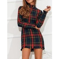 Women Tassels Casual Dresses Office uniform designs Tartan tweed mini dress long sleeve winter dress