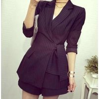 Autumn High Quality Slim Formal Office Work Suit Long Korean Women Blazer Suit With Sashes