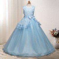 YSMARKET 120-170cm 8 Color Baby Girls Party Dress Elegant Long Evening Dress For Wedding Tulle Kids Dresses For Teen Clothing
