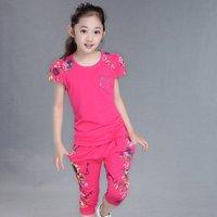 YSMARKET Casual Summer Children Clothing Sets Girls Floral Print Short Sleeve Sport Flower Suit +Pants Set Kids Clothes