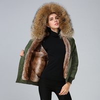 Latest design fur lined winter khaki bomber jacket women ready to ship outwear wholesale