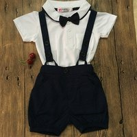 Boys gentleman summer models ,strap suit boys two-piece white short-sleeved + Bib led the knot long -sleeved suits