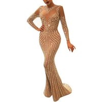 Luxury Long Sleeve Evening Dresses 2018 Prom Dress Women Sexy Ladies Long Gown Party Wear Evening Gowns