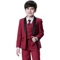 Free shipping Nimble China Wholesale Formal Wine Boys Suit Nimble Children Formal Suits Wedding Suits Gentleman Clothing Sets