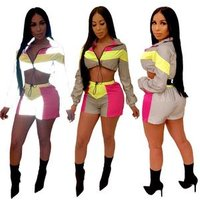 9040494 New hot style matching long sleeve reflective sport crop top and shorts women outfits
