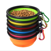 'With Hook Eco Friendly Pet Food Water Dog Bowl Folding Plastic Melamine Portable Pet Bowl Foldable Collapsible Silicone Pet Bowl