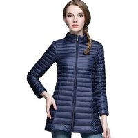 Fashion Outdoor Windbreaker Winter Light Weight Stand Collar Long Duck Down Jacket For Women