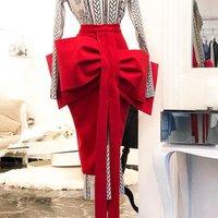 Women Pencil Skirt Front Big Bow Tie High Waist Split Slim Female Package Hip Lolita Jupes Falads Officewear Elegant Femme 2019