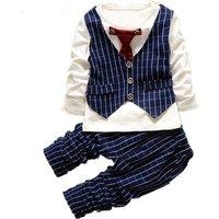 Bow Tie Boutique Clothing Manufacturer Low Moq Gentleman Suit Baby Boy Clothes Set
