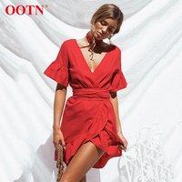 OOTN Irregular Deep V Neck 2020 Summer Sun Dresses Female Short Sleeve Waistband Women Tunic Red Sundress Ruffled Mini Dress