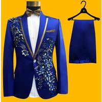 2 Pieces Stylish Embroidery Coat Pant Men Suit for Party Prom Host Performance Slim Fitted Suit