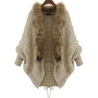 Womens winter fur collar cardigan, plus size with batwing sleeves sweater cardigan