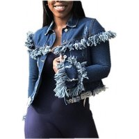 Women Denim Jacket Coat Casual Ripped Holes Jean Jackets Frayed Pattern Basic Lady Tassel Female Clothing Y11321
