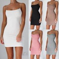 Women Spaghetti Strap Stretchy Hip Bodycon Mini Dress Short Club Dress