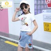 5-14 Years Old Kids Clothes 2 Piece Embroidery Rose Designer Children White Two Piece Short T-Shirt And Denim Kids Skirt Set
