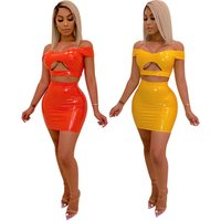 Fashion Women Clothes 2 Pieces Outfit Faux Leather Corsets for Women PU Crop Top Short Skirt Set Sexy Clubwear