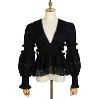 MOLI New Fashion Lace Blouse Designs Ladies Sexy Deep V Neck Top Lantern Sleeve Blouse For Women
