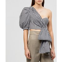 2019 Latest ladies sexy one shoulder clothes women puffy sleeve crop top summer grid shirt tube top balloon sleeve blouse