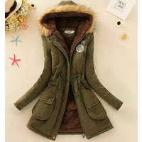 8818  Ladies Winter  Fur Lining Coat  Warm Thick Long Jacket Outdoor Hooded Parka