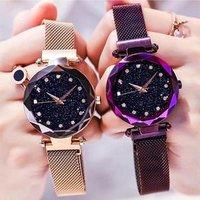 Fashion Watch Women Romantic Starry Sky Quartz Wrist Watch Steel Mesh Rhinestone Women Clock Relogio Feminino