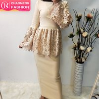 2144# latest design abaya fashion malaysia skirt and blouse bella lace tops for muslim women modest clothing