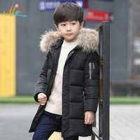 Hot sale style best quality multiple colored long hooded zipped technical boy child coat with faux fur collar