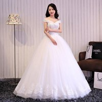 Korean Fancy bride dress Off Shoulder Heavy Beaded wedding dress bridal gowns