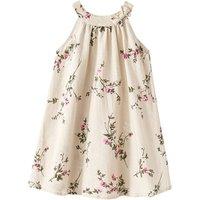 Mudkingdom children western floral pattern cotton linen dress for girls