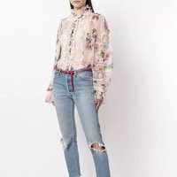 2019 Spring New design ladies 3D rose printed lace appliques frill turtleneck puffed sleeve chiffon blouse for women daily wear
