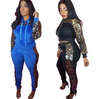 Crop Top and Pants Sequin 2 Piece Set Women Casual Tracksuit Velvet Hooded Set Autumn Glitter Two Piece Trousers Sets