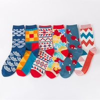 wholesale fuzzy cotton colorful jacquard funky crew happy dress socks