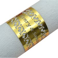 Filigree laser cut personalized gold napkin rings for weddings