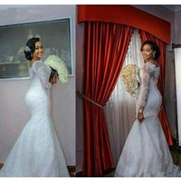 African Elegant Mermaid Wedding Dress Pure White Lace Appliques Long Sleeves Plus Size Wedding Dresses Bridal Gowns WD6117