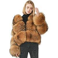 Short Warm Custom Fluffy Genuine Natural Raccoon Dog Fur Jacket Full Sleeve Thick Winter Women Real Raccoon Fur Parka Coat