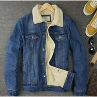 X87521B winter men thicken wool denim jacket coat