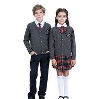 Custom make school sweater unisex British style knitting cardigan kids sweater 100% cotton primary school uniform designs