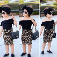 Lifu Fashion Baby Girl Clothes Girls Clothing Set Off Shoulder Top Leopard Skirt Summer Kids Clothing Sets 3pcs