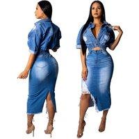 Fashion Girl Crop Top And Skirt 2 Piece Irregular Denim Dress Set