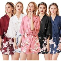 Wholesale summer women wedding bride satin silk floral robe kimono sleepwear dress