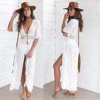 Wholesale women lace long dress white bikini beachwear sexy beach knitted cover up