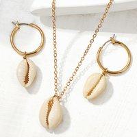 Women Fashion Boho Style gold plated Beach Shell Necklace Shell Earring Seashell Shell Jewelry Set