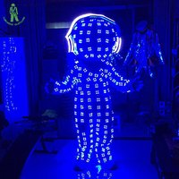 LED Light Up Luminous Clothes Illuminated Robot Suit For Night Clubs LED Costumes Ballroom Headphone Cosplay Luminescent Clothes