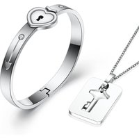 Silver Stainless Steel Love Heart Lock Bangles Key Pendant Necklace Couples Jewelry Set
